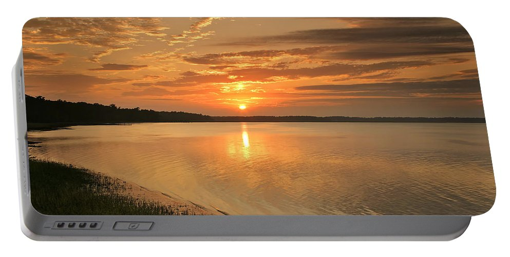 Canvas Portable Battery Charger featuring the photograph Shoreline Sunset by Phill Doherty
