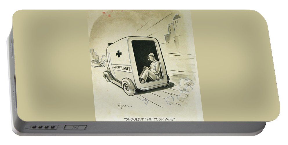 Cartoon Portable Battery Charger featuring the drawing Shouldn't Hit by William Spaar Jr