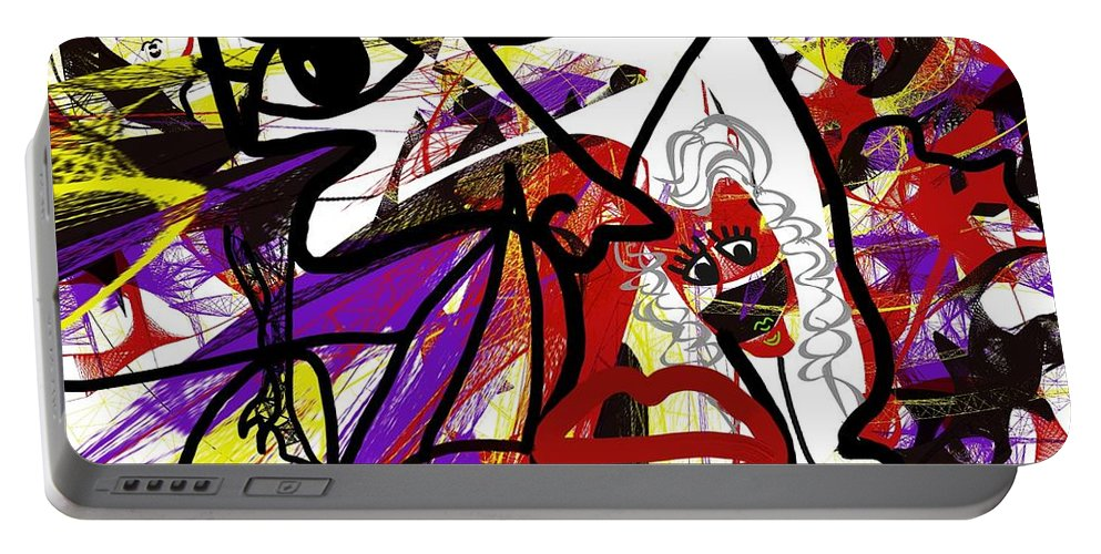 Surrealism Portable Battery Charger featuring the digital art Show Must Go On by Yilmar Henry