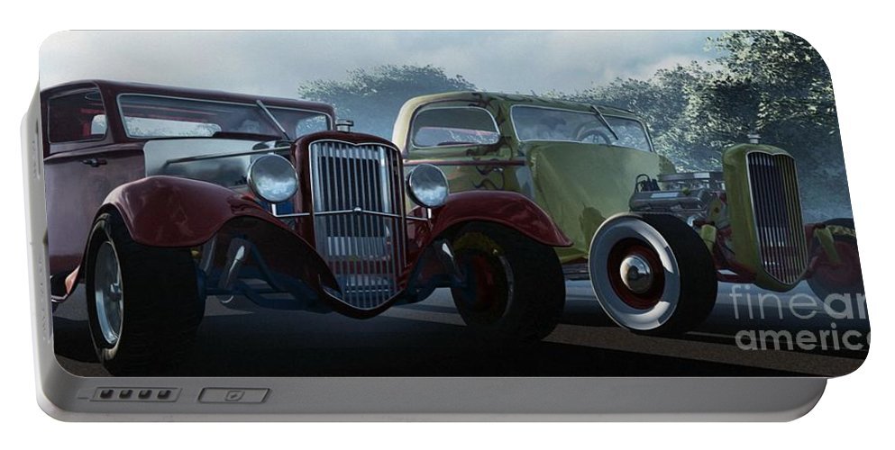 Hot Rods Portable Battery Charger featuring the digital art Showdown by Richard Rizzo