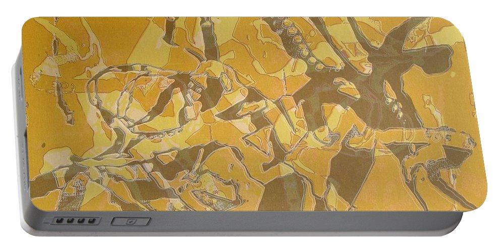 Abstract Portable Battery Charger featuring the digital art Shredded Notebook Stencil by Ron Bissett