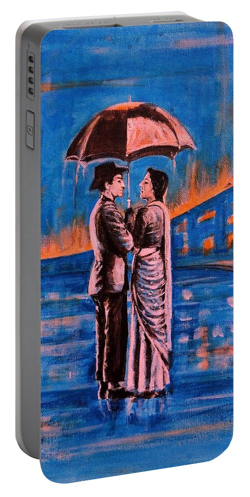 Shree Portable Battery Charger featuring the painting Shree 420 by Usha Shantharam