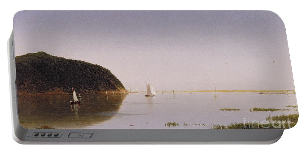 Eastern New Jersey; Monmouth County; View; Boat; Yacht; Landscape; New England; American Landscape; Hudson River School; John Frederick Kensett Portable Battery Charger featuring the painting Shrewsbury River - New Jersey by John Frederick Kensett
