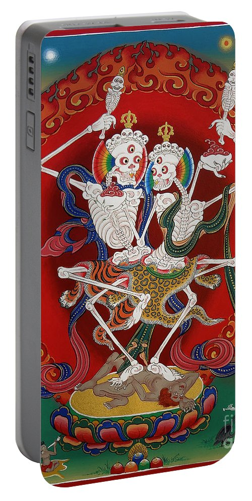 Portable Battery Charger featuring the painting Shri Chittipati - Chokling Tersar by Sergey Noskov