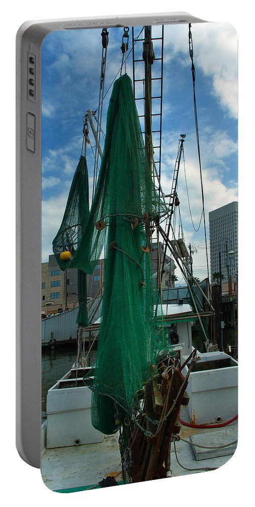 Shrimp Boat Portable Battery Charger featuring the photograph Shrimp Boat Back by Robert Brown