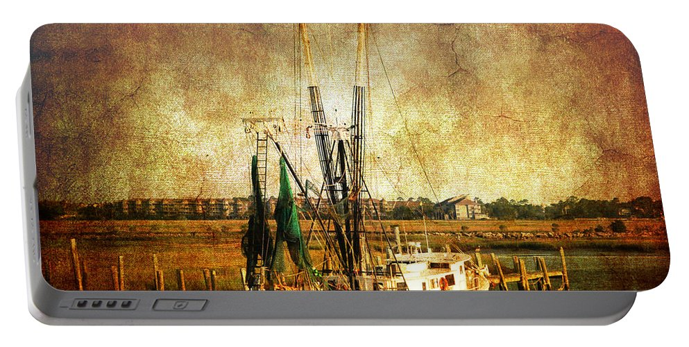 Shrimp Boat Portable Battery Charger featuring the photograph Shrimp Boat In Charleston by Susanne Van Hulst