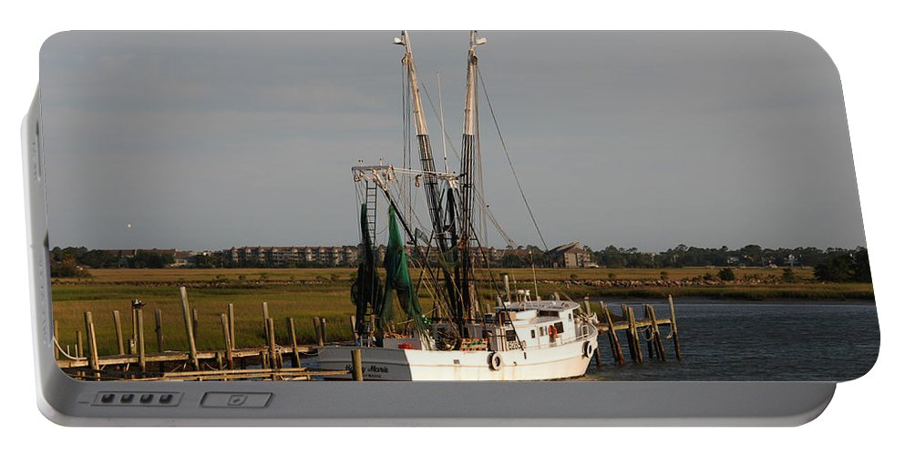 Photography Portable Battery Charger featuring the photograph Shrimp Boat by Susanne Van Hulst