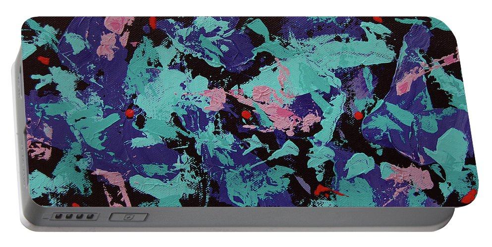 Abstract Portable Battery Charger featuring the painting Shrimp Shuffle by Dave Jones