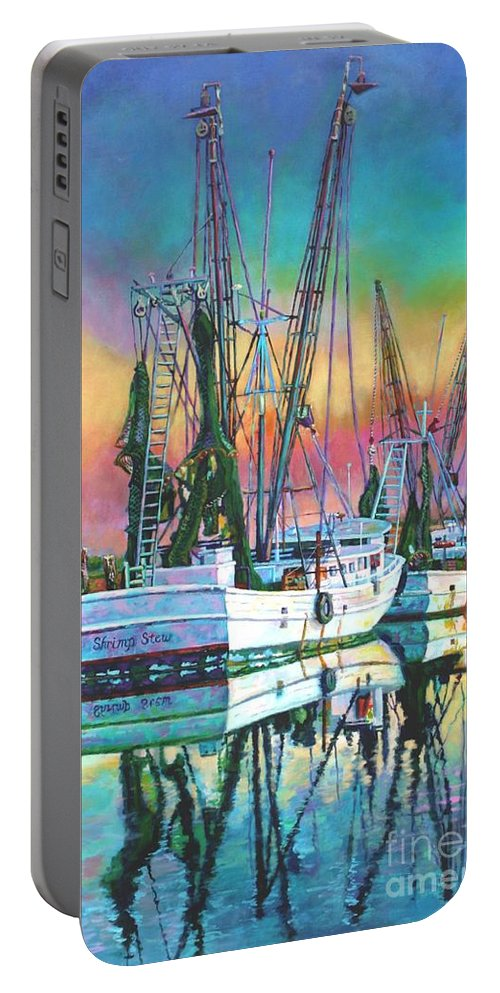 Art Portable Battery Charger featuring the painting Shrimp Stew Too by Lisa Tygier Diamond