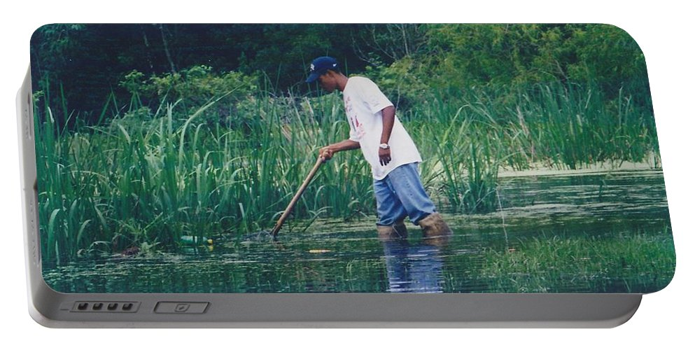Landscape Portable Battery Charger featuring the photograph Shrimping In The Bayou by Michelle Powell