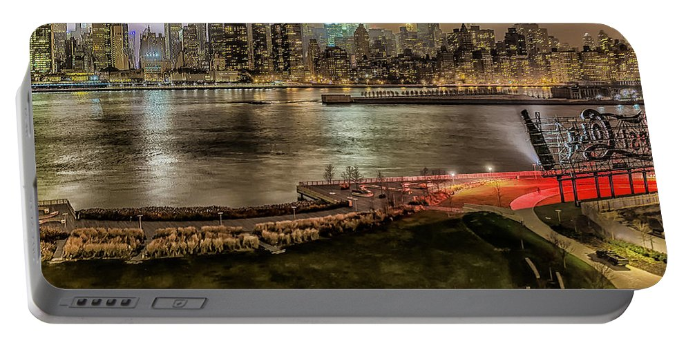 Li Portable Battery Charger featuring the photograph Shrouded City 5255 by Karen Celella
