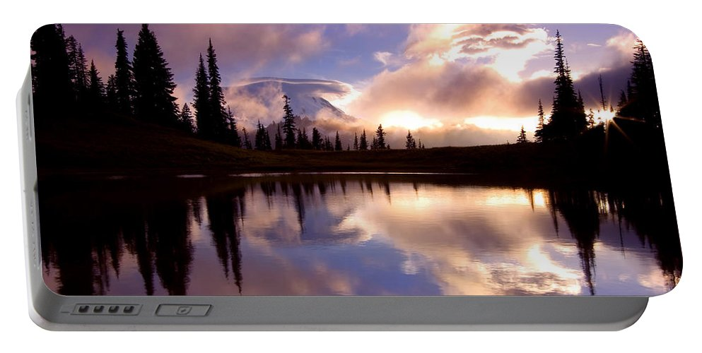 Rainier Portable Battery Charger featuring the photograph Shrouded In Clouds by Mike Dawson