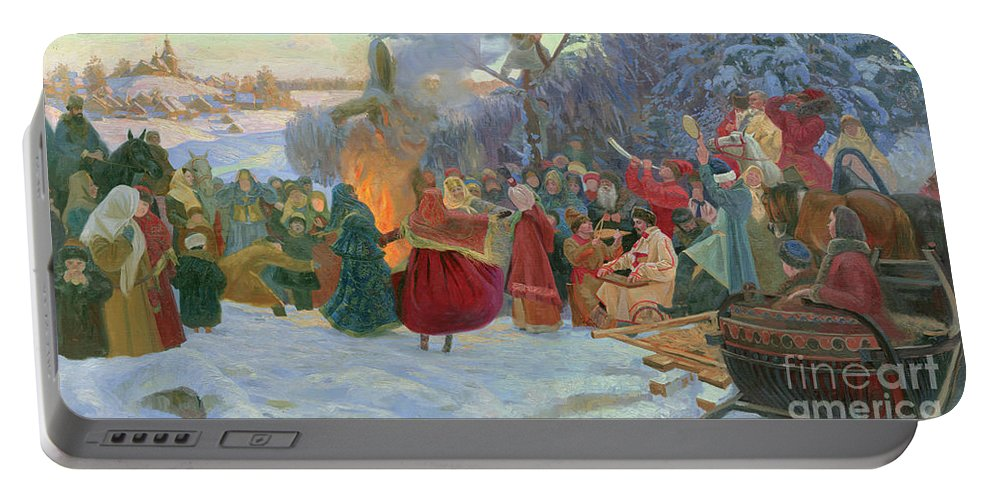 Winter Portable Battery Charger featuring the painting Shrovetide. Farewell To Winter. Xvii Century by Simon Kozhin
