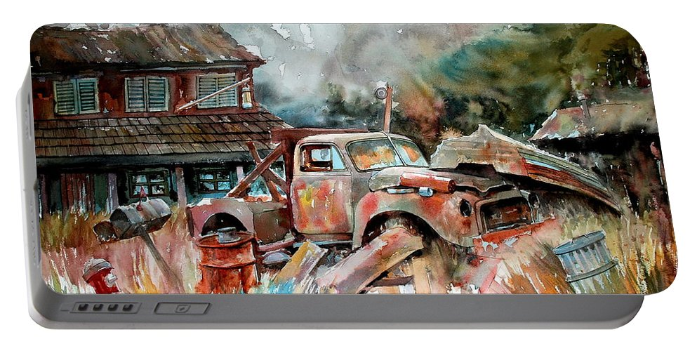 Truck Portable Battery Charger featuring the painting Shuttered And Cluttered And Gone by Ron Morrison