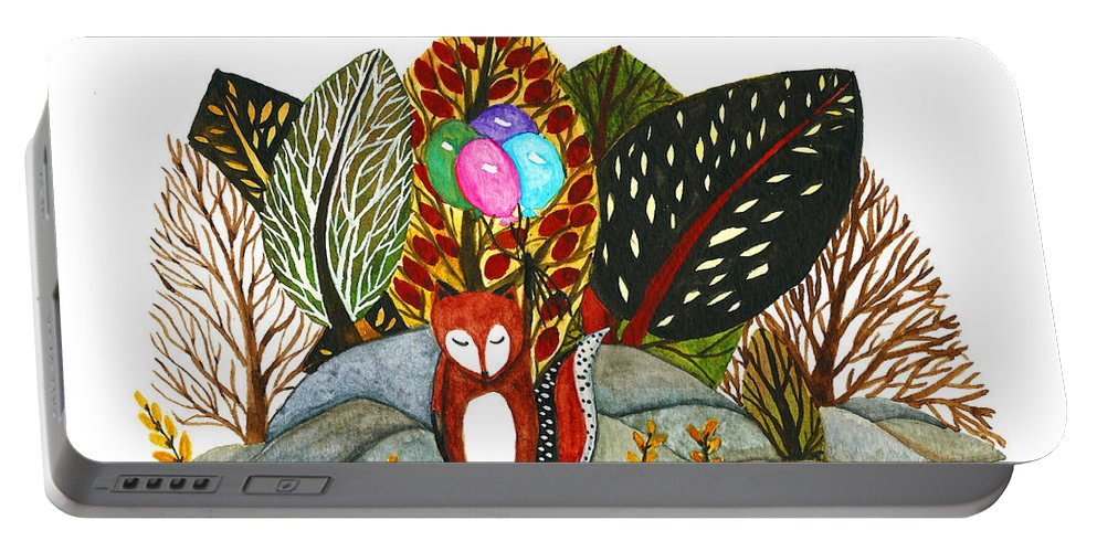 Nursery Wall Decor Portable Battery Charger featuring the painting Shy Fox With Balloons by Garima Srivastava