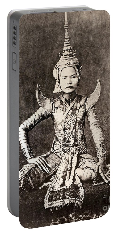 1870 Portable Battery Charger featuring the photograph Siam: Dancer, C1870 by Granger