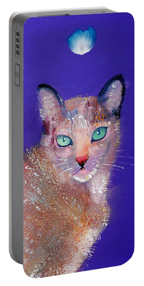 Cat Portable Battery Charger featuring the painting Siamese Cat by Charles Stuart