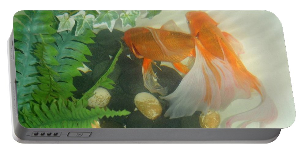 Orange Portable Battery Charger featuring the photograph Siamese Fighting Fish 2 by Mary Deal