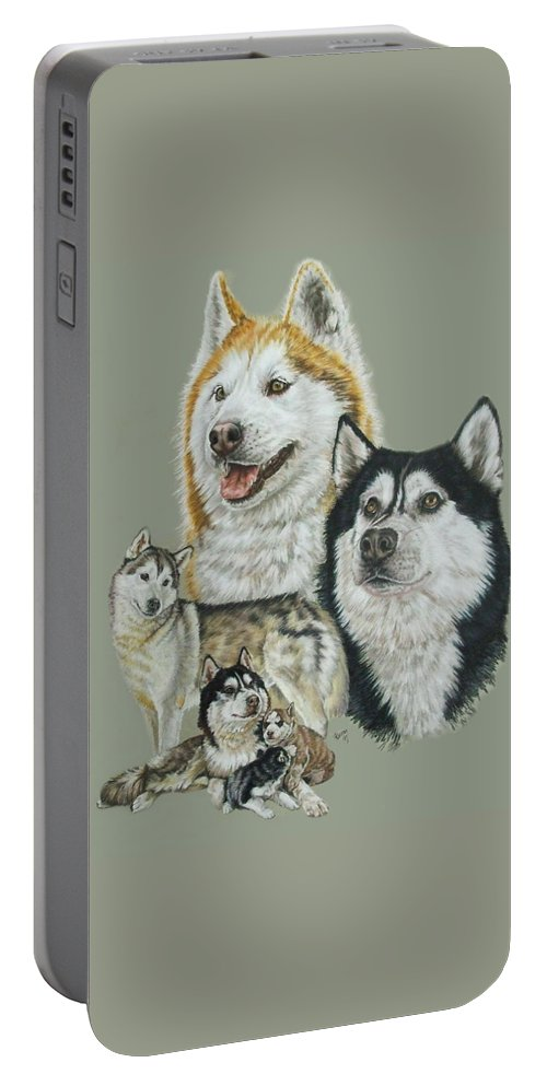 Purebred Dogs Portable Battery Charger featuring the drawing Siberian Husky by Barbara Keith