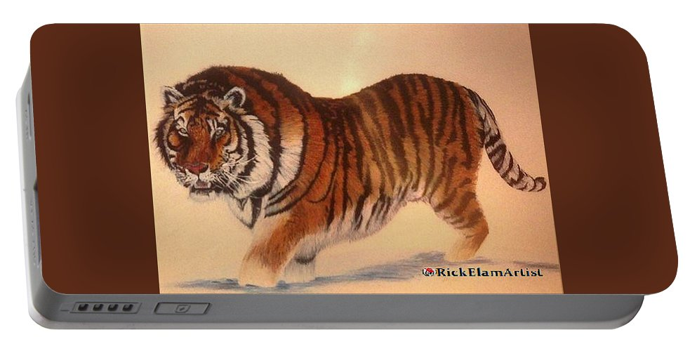 Art Portable Battery Charger featuring the drawing Siberian Snow Tiger by Rick Elam