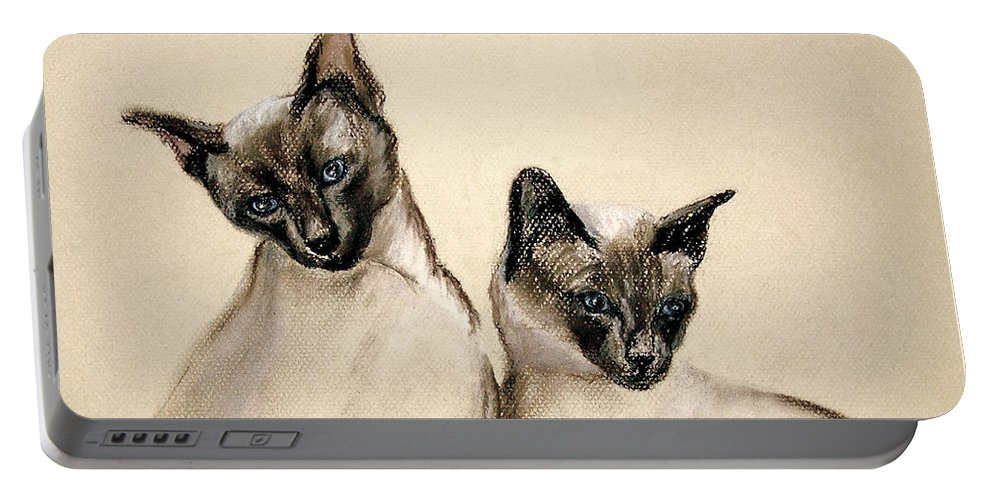 Cat Portable Battery Charger featuring the drawing Sibling Love by Cori Solomon