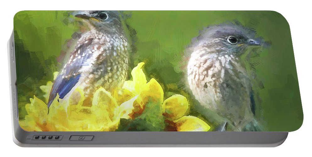 Bluebird Portable Battery Charger featuring the photograph Siblings by Tina LeCour