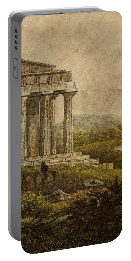 Aged Portable Battery Charger featuring the digital art Sicilian Scenery 1823 by Laurent P TELIAS