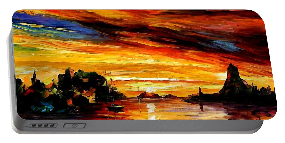 Afremov Portable Battery Charger featuring the painting Sicily - Catania by Leonid Afremov