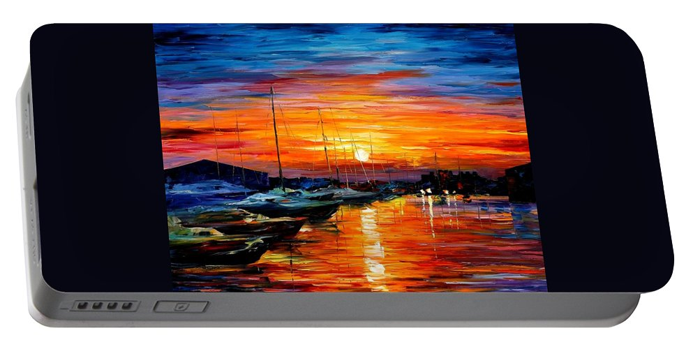 Afremov Portable Battery Charger featuring the painting Sicily - Harbor Of Syracuse by Leonid Afremov