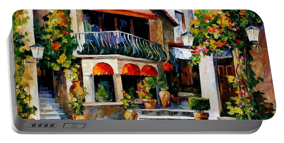 Afremov Portable Battery Charger featuring the painting Sicily - Spring Morning by Leonid Afremov