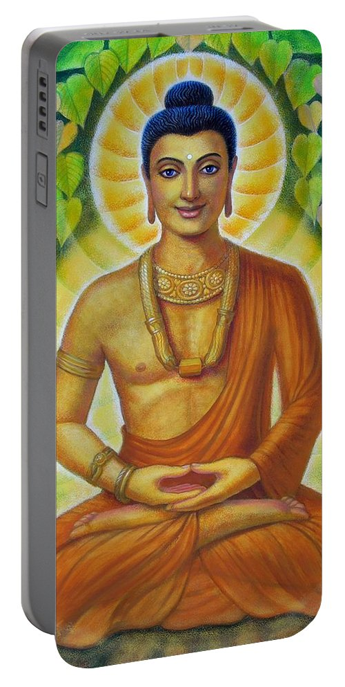 Buddha Portable Battery Charger featuring the painting Siddhartha by Sue Halstenberg