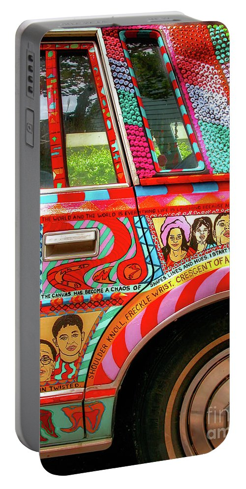 Car Portable Battery Charger featuring the photograph Side And Tire Of The Car-nola by Kathleen K Parker
