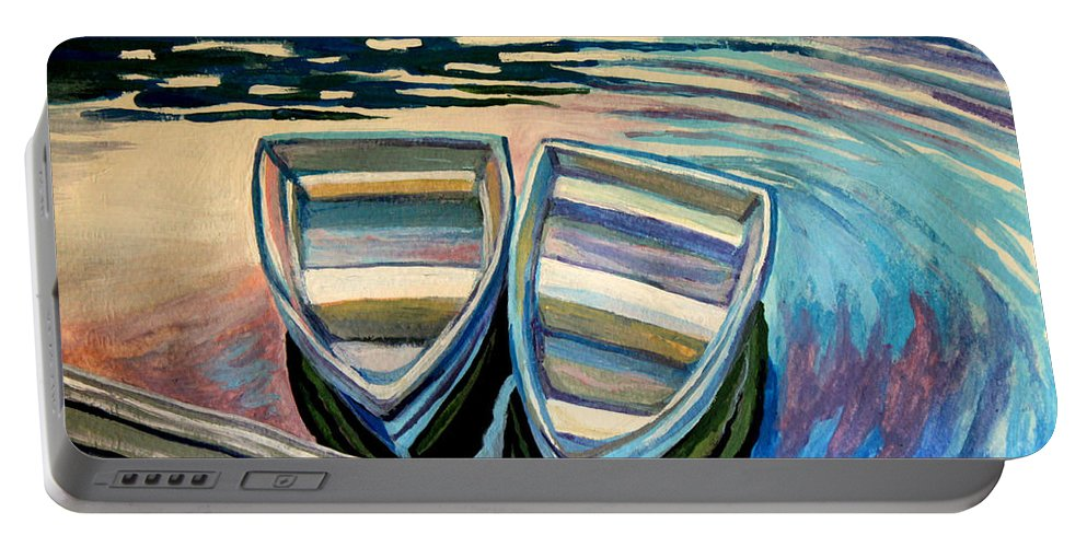 Boat Portable Battery Charger featuring the painting Side By Side by Elizabeth Robinette Tyndall