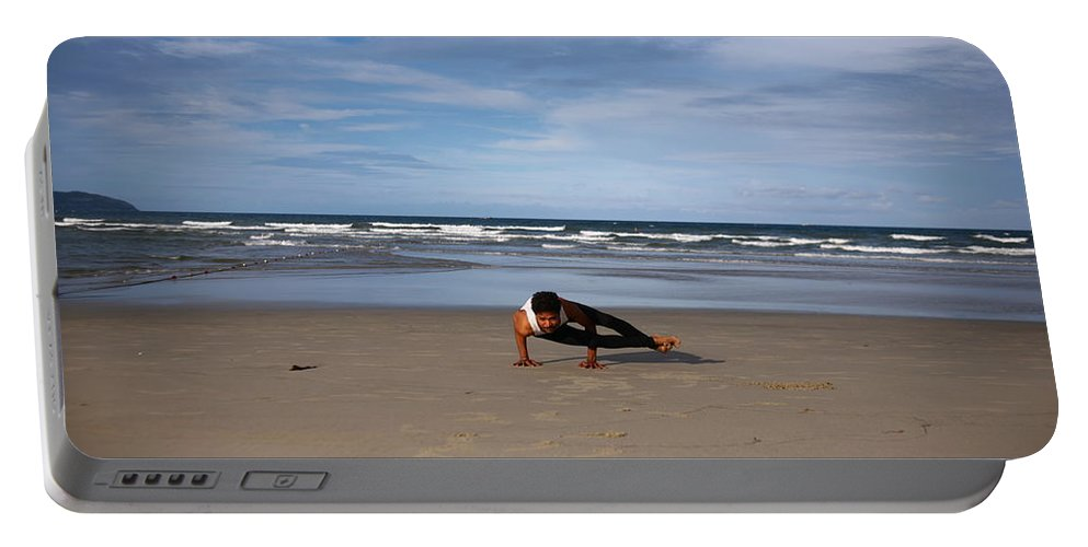 Yoga Portable Battery Charger featuring the photograph Side Crow by Amit Namdev