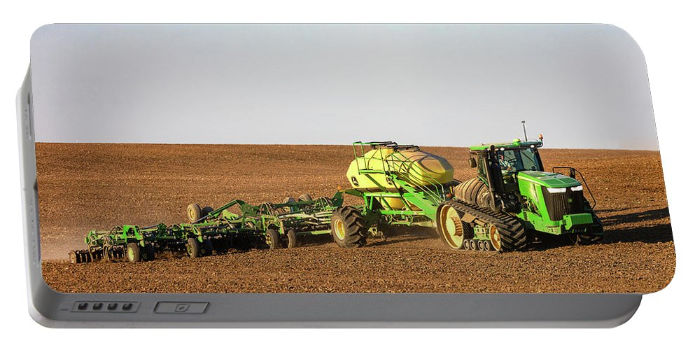 John Deere Portable Battery Charger featuring the photograph Side Hill Seeding by Todd Klassy