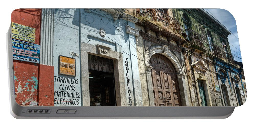 Quezaltenango Portable Battery Charger featuring the photograph Side Street Homes Antiqua Guatemala 3 by Douglas Barnett