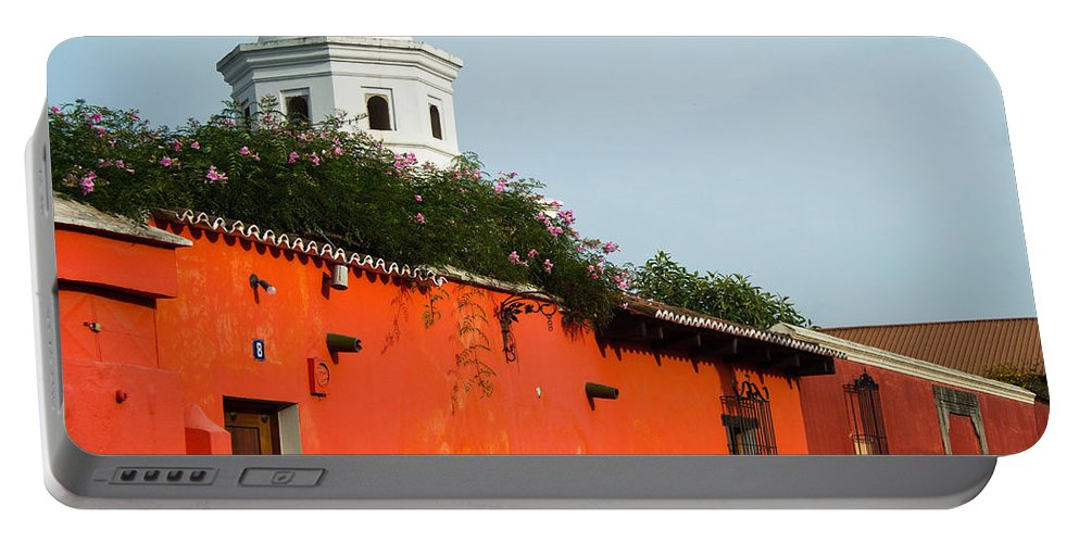Side Portable Battery Charger featuring the photograph Side Street Homes Antiqua Guatemala by Douglas Barnett