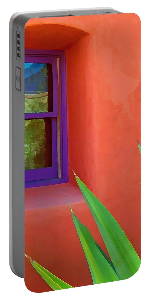 Architecture New Mexico Abstract Portable Battery Charger featuring the digital art Side View by Kristin Hodges