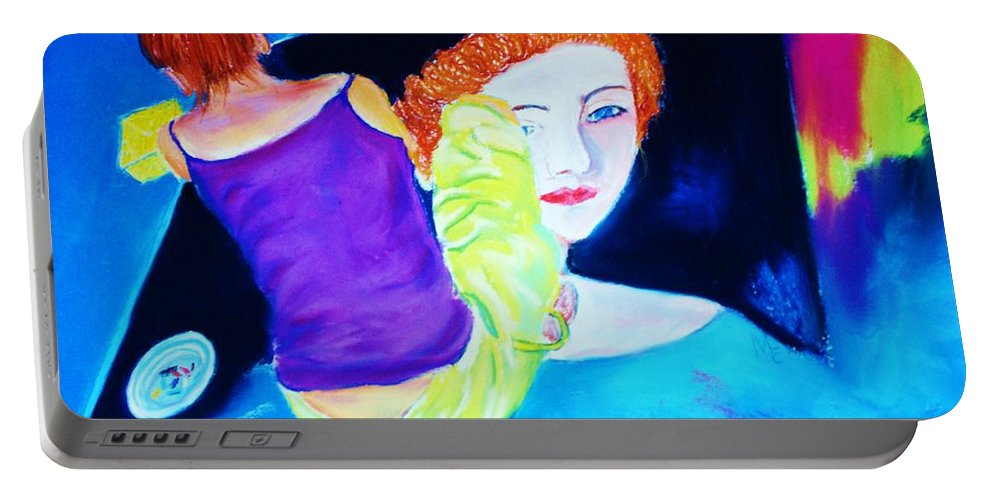 Painting Within A Painting Portable Battery Charger featuring the print Sidewalk Artist II by Melinda Etzold