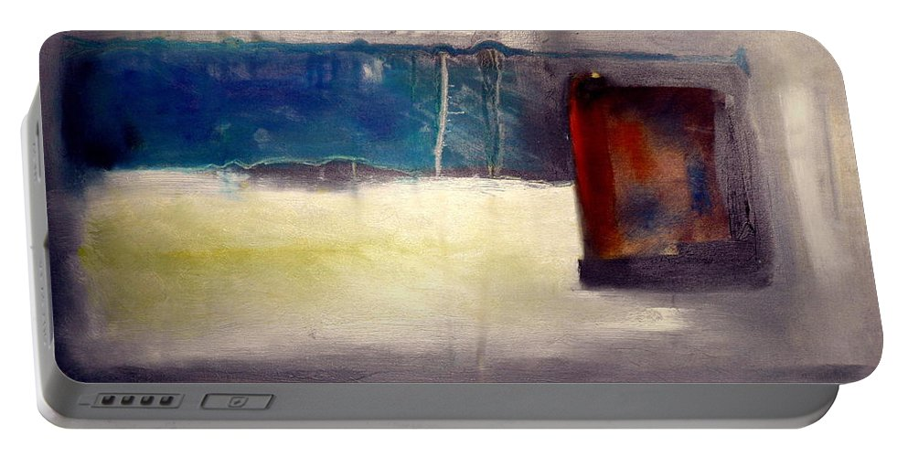 Abstract Landscape Portable Battery Charger featuring the painting Siennna Square by Jane Clatworthy