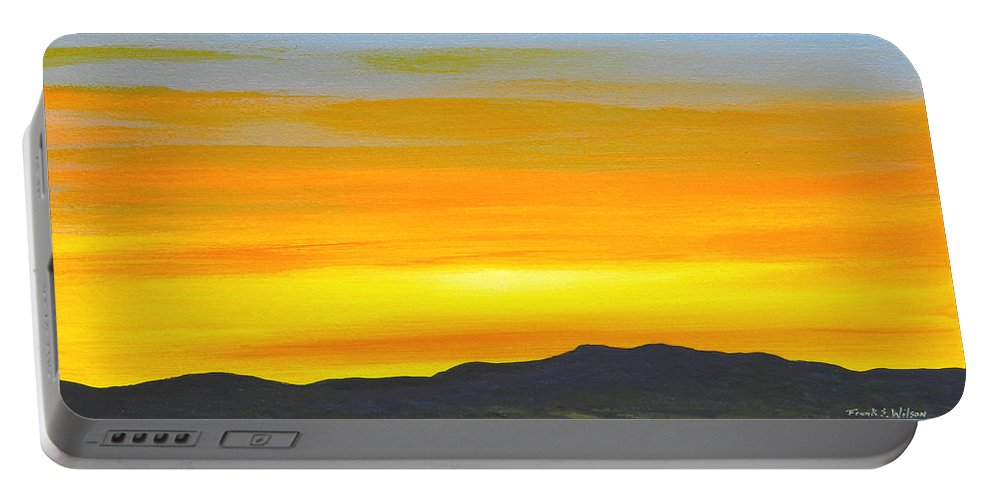 Sunrise Portable Battery Charger featuring the painting Sierra Foothills Sunrise by Frank Wilson