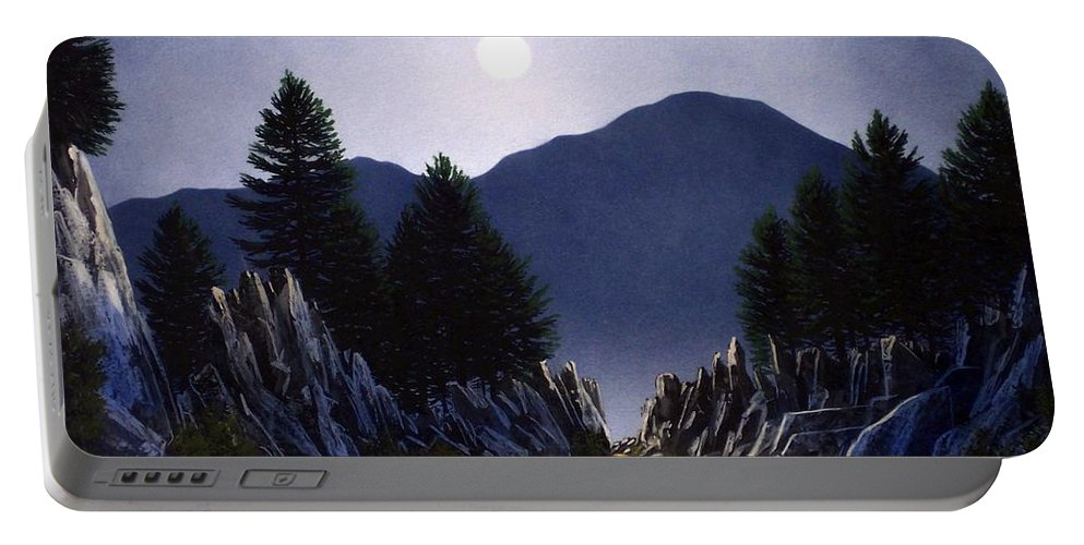 Mountains Portable Battery Charger featuring the painting Sierra Moonrise by Frank Wilson