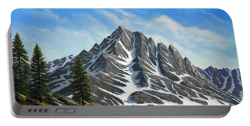 Mountains Portable Battery Charger featuring the painting Sierra Peaks by Frank Wilson