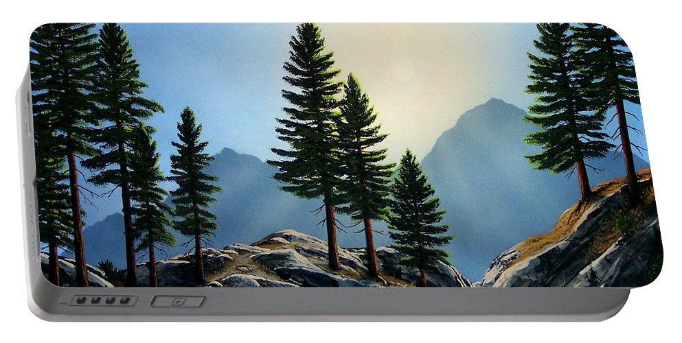 Landscape Portable Battery Charger featuring the painting Sierra Sentinals by Frank Wilson