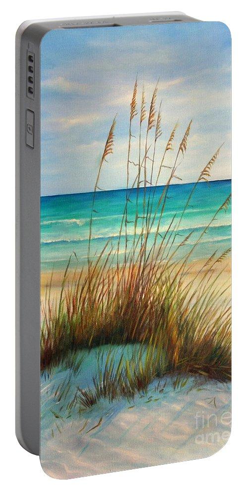 Siesta Key Beach Portable Battery Charger featuring the painting Siesta Key Beach Dunes by Gabriela Valencia