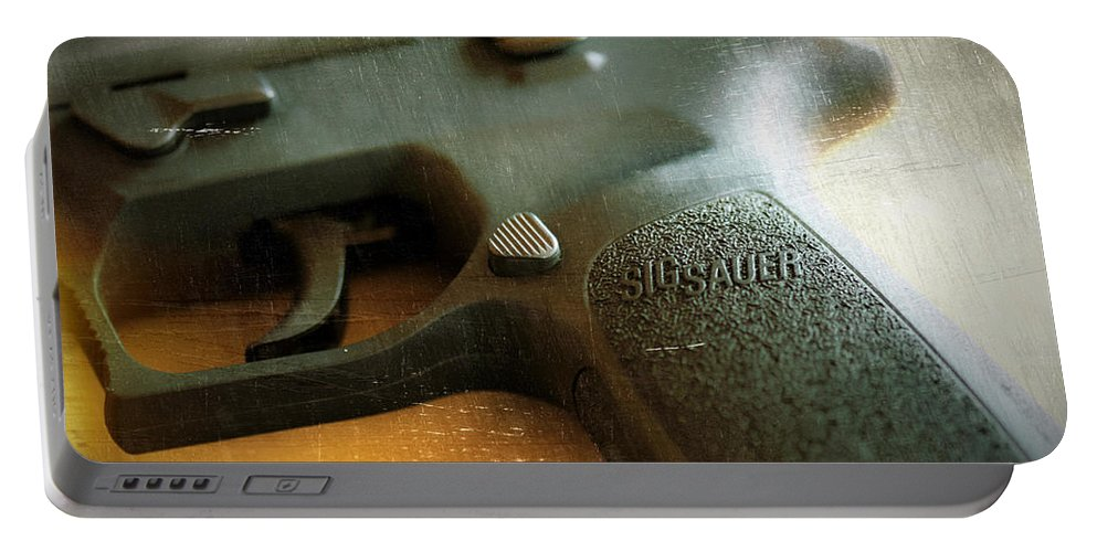 Pistol Portable Battery Charger featuring the photograph Sig Sauer P-250 by Sherman Perry