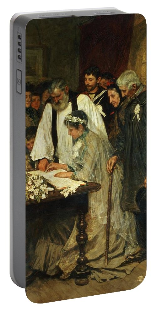 Signing Portable Battery Charger featuring the painting Signing The Marriage Register by James Charles