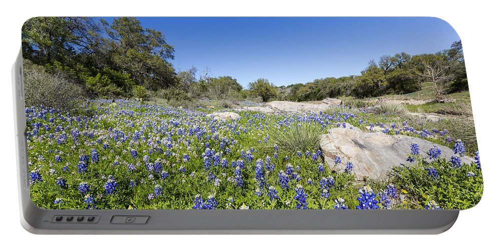 Bluebonnets Portable Battery Charger featuring the photograph Signs Of Spring In Texas by Stephen Stookey