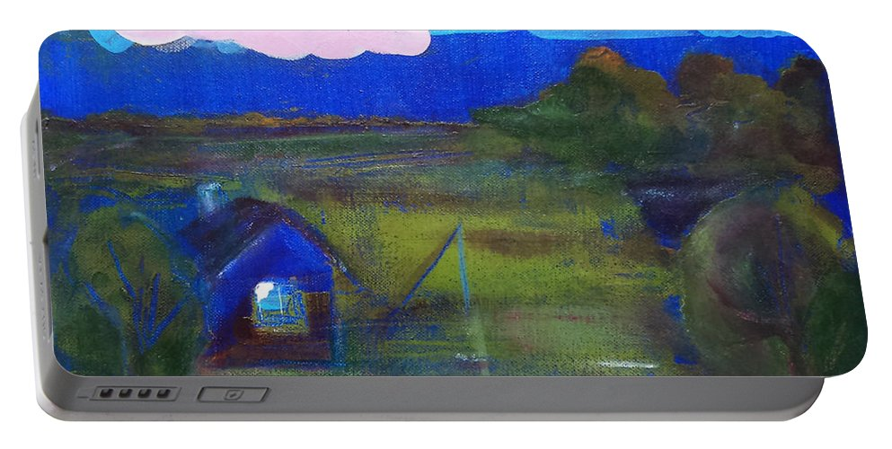 Mixed Media Painting Portable Battery Charger featuring the painting Silence by Margarita Afanasjeva