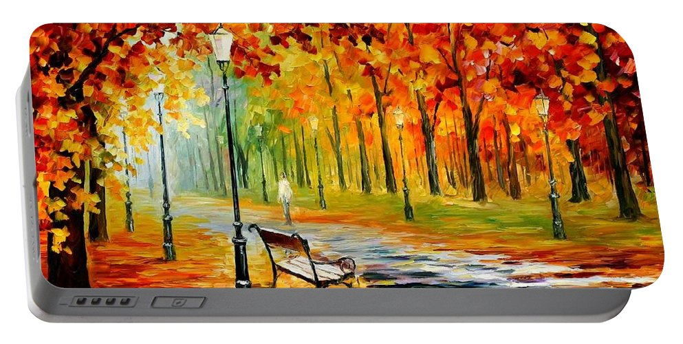 Afremov Portable Battery Charger featuring the painting Silence Of The Fall by Leonid Afremov